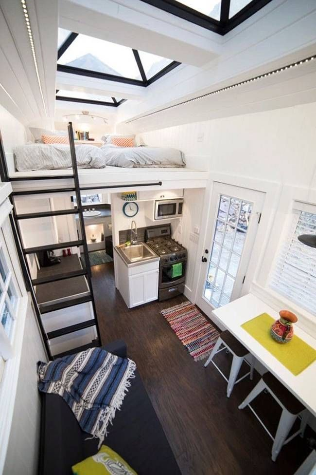 A tiny house that features a light and airy interior thanks to a series of pyramid skylights: http://humble-homes.com/this-tiny-house-on-wheels-takes-inspiration-from-beach-houses/