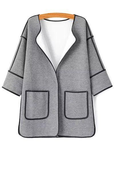 3/4 Sleeve Color Block Cardigan