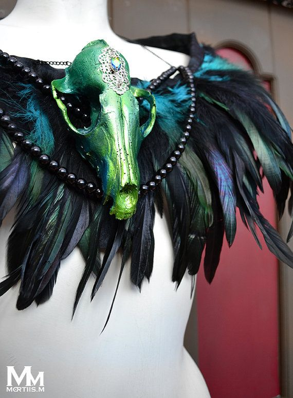 Animal-friendly Feathered Faux Fox skull collar in by MortiisM