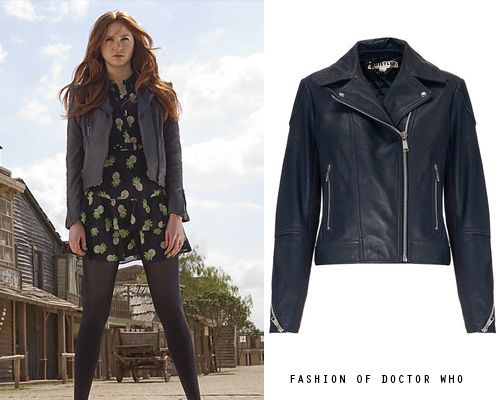 Amy Pond- A Town Called Mercy Whistles Leather Jacket With Extended Shoulder in Navy - no longer available Worn With:Whistles Beatrice Pineapple Print Dress