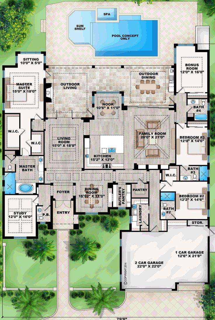 Mediterranean House Plan 52913 Level One