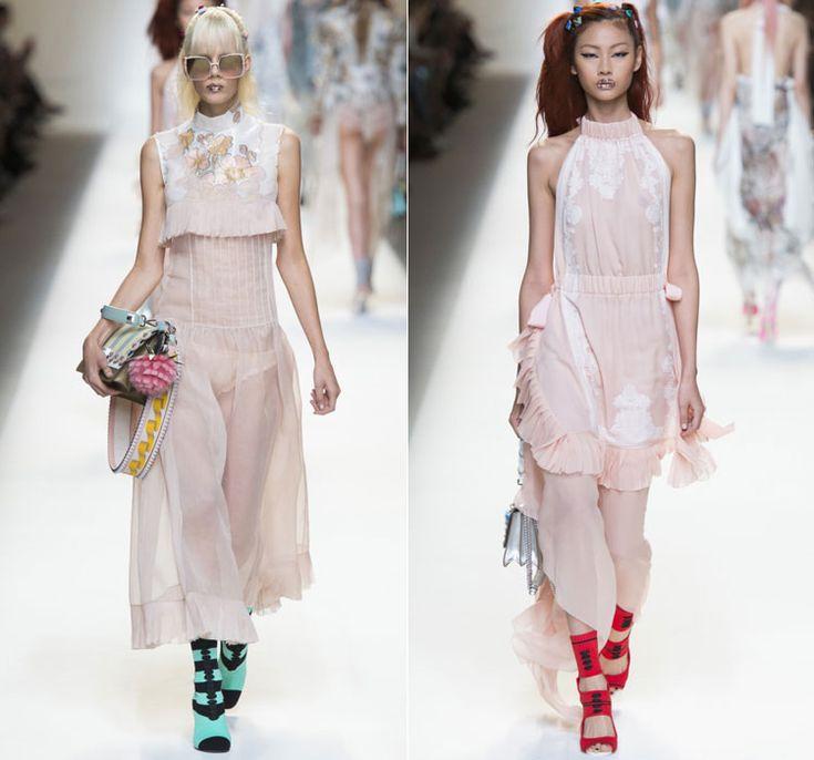 Светло розовые платья от Fendi Весна-Лето 2017 Ready to wear