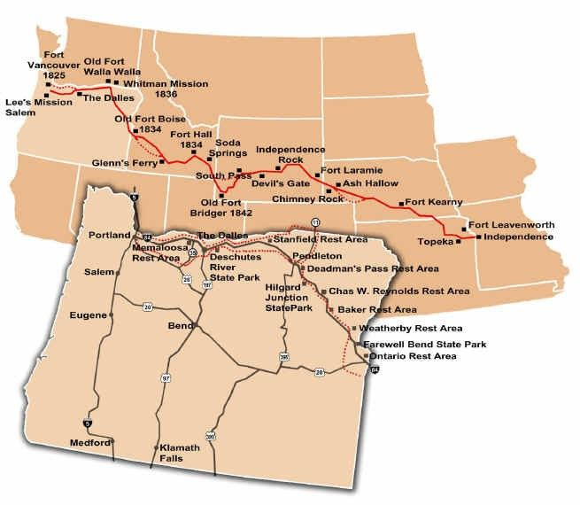 Wagon train trails from Missouri to Oregon. Include forts.  Fort Laramie, Fort Boise, Fort Robinson,Independence Rock, Soda Springs, Devils Gate, Chimney Rock, Many more locations across the country.