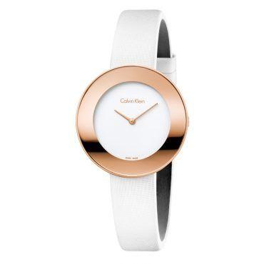 K7N236K2 Γυναικείο ελβετικό ρολόι CALVIN KLEIN Chic με λευκό δερμάτινο λουρί και λευκό καντράν | Ρολόγια CK ΤΣΑΛΔΑΡΗΣ στο Χαλάνδρι #Calvin #Klein #chic #λευκο #λουρι #ρολοι