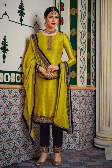 Exclusive Green Velvet Trouser Suit With Dupatta - DMV15274