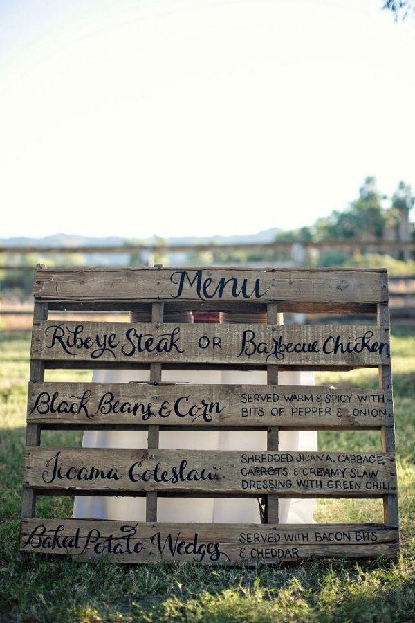 Barbecue Wedding menu / http://www.deerpearlflowers.com/rustic-wood-pallets-in-your-wedding/