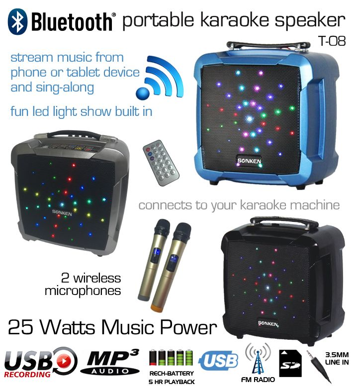 T-08 Powered Karaoke Speaker with 2 Wireless Microphones, Vocal Record, and LED Lights