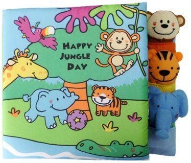 """Edu-Petit Happy Jungle Day Finger Puppet Book Developmental Toy by Edu-Petit. $12.75. From the Manufacturer                Happy Jungle Day Finger Puppet Book is a soft cloth book with 3 cloth finger puppet buddies. The book measures 7x7"""" where the last page or cover is a couple of"""" bigger to store the finger puppet buddies. The jungle friends are all having fun as they play ball with Ellie the elephant. When the ball gets stuck in the tree what will they do. Play along..."""