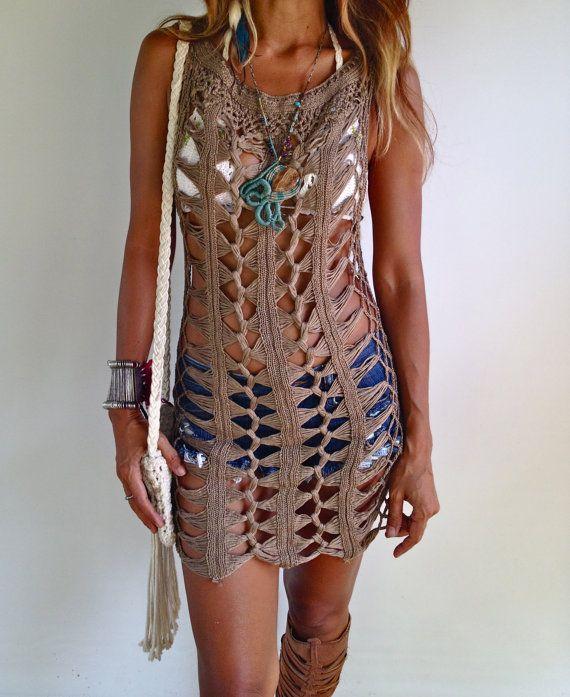 Brown Crochet Dress beach dress van SpellMaya op Etsy