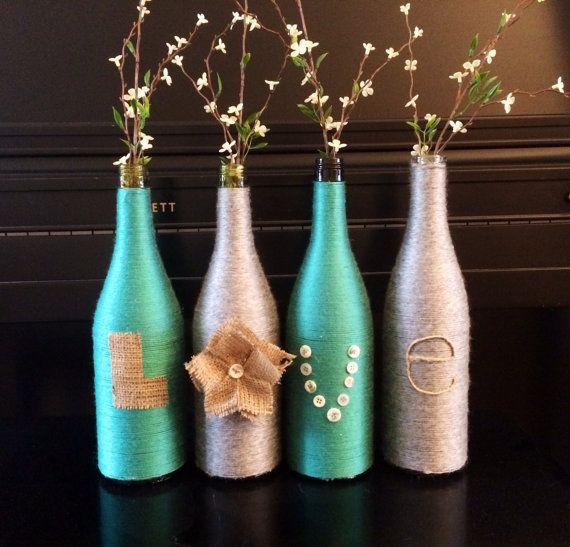 Yarn wrapped bottles wine bottles wrapped bottles by HomeEcQueen