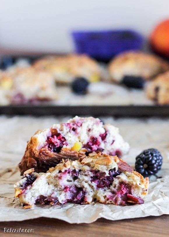 Blackberry Peach Scones combine two delicious summer fruits in a light, flaky scone that's perfect for breakfast or as a snack.