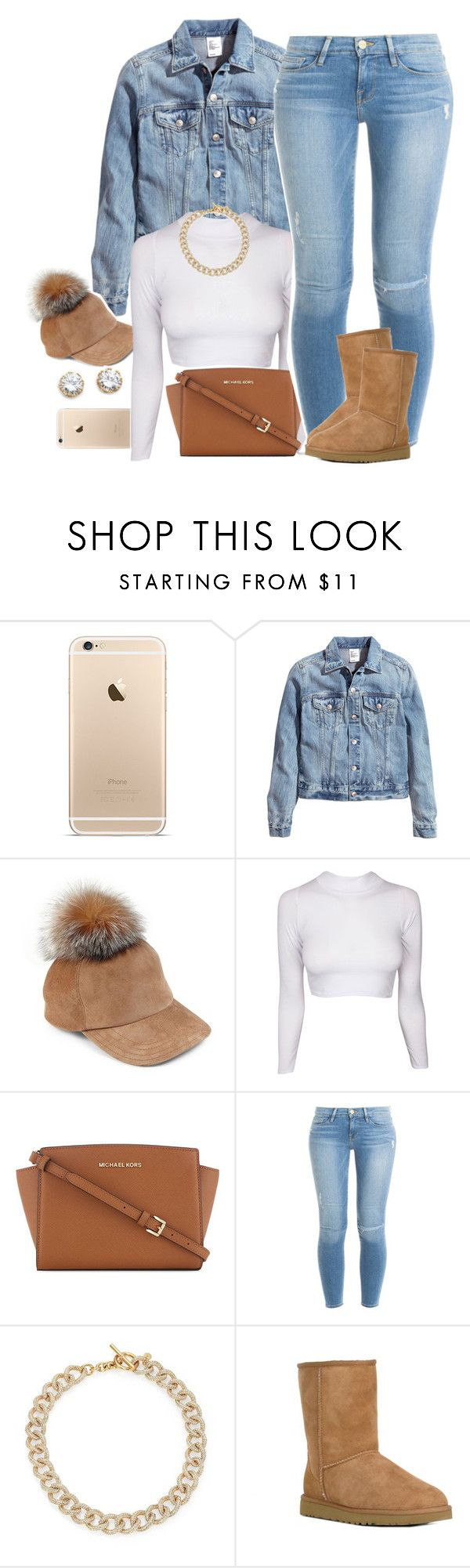 """Untitled #1545"" by lulu-foreva ❤ liked on Polyvore featuring H&M, Lola, MICHAEL Michael Kors, Frame Denim, Michael Kors, UGG Australia, Kenneth Jay Lane, women's clothing, women's fashion and women"