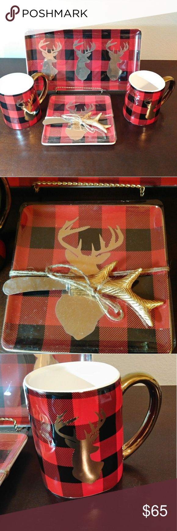 Reindeer plaid Christmas set Adorable serving set includes a platter, cheese plate with knife, and 2 mugs. Platter and plates come with golden trims! Will make a great addition to your Rae Dunn, cabin, or farmhouse collection. Will ship with care. Other