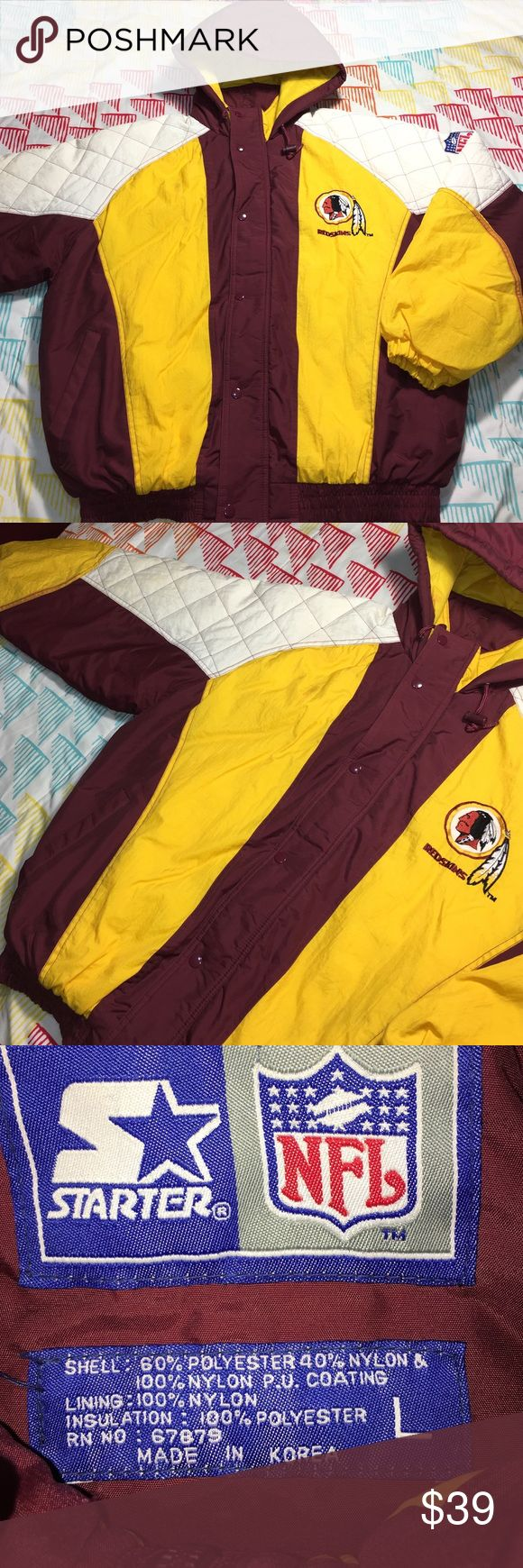 Washington Redskins Vintage NFL Football Jacket Size Large - Condition 9/10 - Some yellowing on the white and some red bleeding into the yellow only noticeable up close. Super nice jacket for being 20+ years old Starter Jackets & Coats Puffers