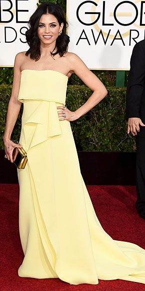 Surprising, well, all of us, yellow strapless gowns were a hot commodity on the Globes red carpet. But Jenna stands out ...