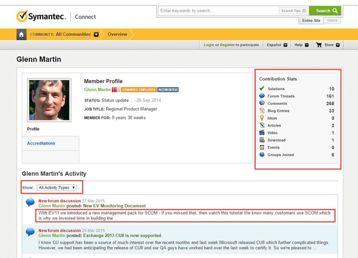 Example member profile. Key features are: the contribution stats on the right, the ability to filter activity, and the use of teaser text (not just a list of titles) in the activity feed.  *Suggested by Derek G.