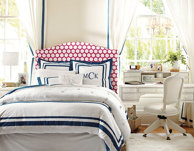 when designing your bedroom you want your bed spread to be white or cream. you can add lots of fun colored pillows and throw blankets. bright pinks, blues, greens, oranges, yellow, and purples are your best friends