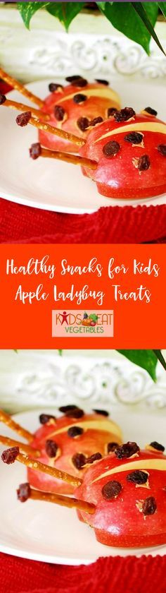 This simple snack is fun for the kids and easy to make. Slice your apples in half, dab on some natural peanut butter and splash a few spots on its back with raisins. And for a crunchy delight, add two thin pretzels for antennae's.  Apple ladybug treats ar