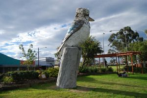 The Big Kookaburra This 4.5 metre tall statue of a native Australian  bird marks Hydro Aluminium's 40th year in the area. Kurri Kurri, Australia