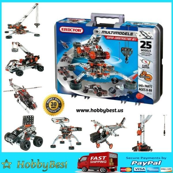 Meccano Erector Metal Toy Construction Set 25 Motorized Models 640pcs | Toys & Hobbies, Building Toys, Meccano & Erector Sets | eBay!