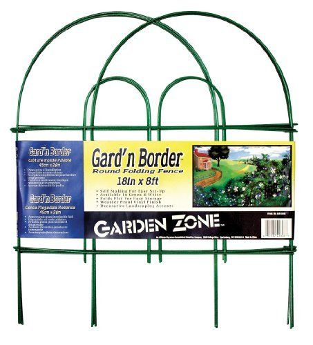 Origin Point 041808 Gard'n Border Round Folding Fence, Green, 18-Inch x 8-Feet by Origin Point. Save 59 Off!. $5.54. Measures 18-inch by 8-feet. Self staking for easy setup; folds flat for easy storage. Garden border round folding fence border. Available in green color. Weatherproof vinyl finish. This garden and border round shaped folding fence is a decorative landscaping accents with weatherproof vinyl finish. This folding fence is self staking for easy setup and storage. Av...