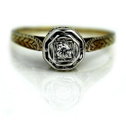 Promise Ring Vintage Promise .10ctw 14K Two Tone Solitaire Engagement Ring European Cut Diamond Simple Art Deco Diamond Ring Size 5.5! by ArtDecoDiamonds on Etsy https://www.etsy.com/listing/492541003/promise-ring-vintage-promise-10ctw-14k