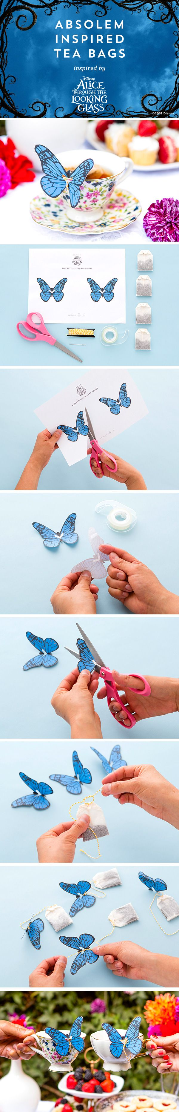 Bookmark this for a quick easy step-by-step DIY for making your own Absolem butterfly tea bags for an Alice Through the Looking Glass-themed tea party or brunch! #partner