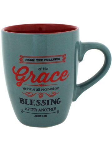 $5.10 John 1:16 Teal Mug