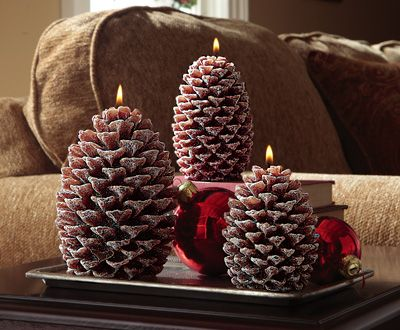 Rustic Woodland Glittered Pinecone Holiday Candles