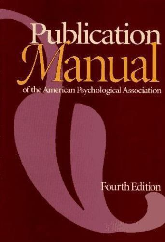 Publication Manual of the American Psychological Association (1994, Paperback) #Textbook