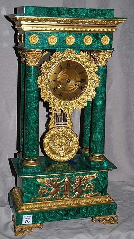 Tiffany Malachite Portico Clock