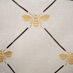 DIY: How to make a custom stenciled 'French Bee' table runner from a drop cloth! Like the gold bees with black lines