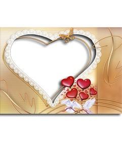 Marco para fotos con forma de corazon, con detalles de palomas blancas y corazones. http://www.fotoefectos.com