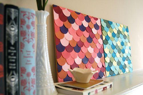 Cuadritos super DIY! Lindos para decorar una pared clara.