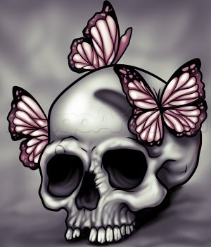 How to Draw a Skull and Butterflies, Step by Step, Skulls, Pop Culture, FREE Online Drawing Tutorial, Added by Dawn, May 2, 2014, 1:29:14 pm