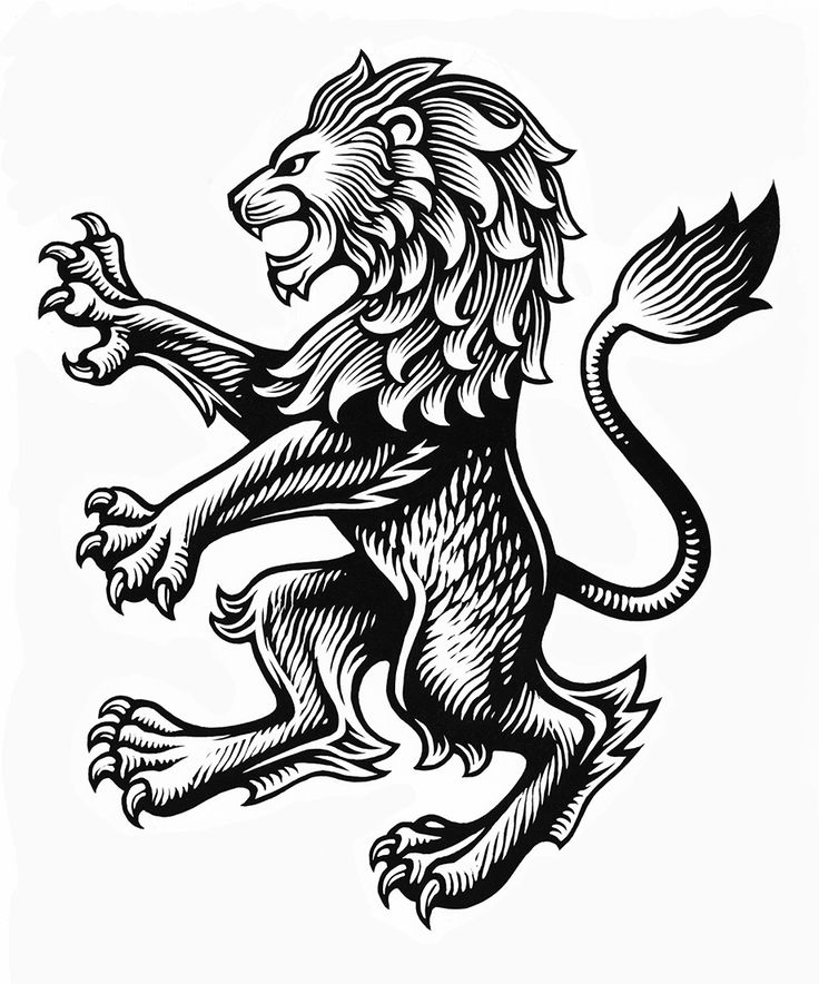 Wood Engravings by Chris Wormell - Lion for Aston Villa FC.