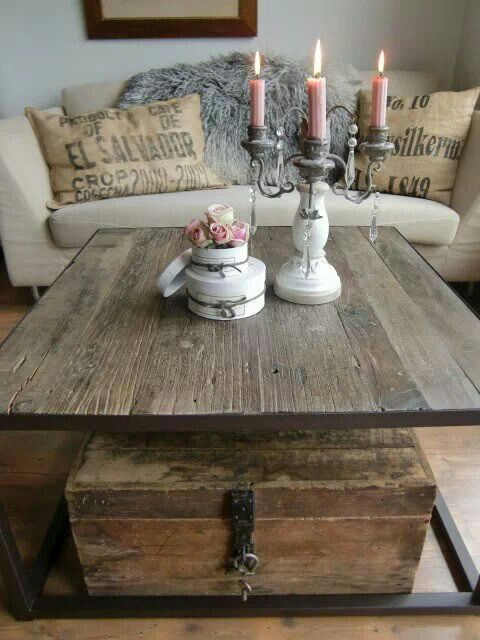 I love the recycled wood table. I can make something similar with street-corner finds. (I don't love the chest, or accents). I think it's the cleanliness of the old dusty wood that works so well indoors. Contrast, you know? I also am totally into the burlap sack pillows, they've so grown on me. I can make those myself, easy peasy!