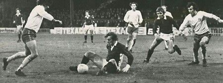 Mansfield Town 5 York City 3 in Dec 1973 at Field Mill. Jimmy Seal tries a shot when he is sat on the ground #Div3