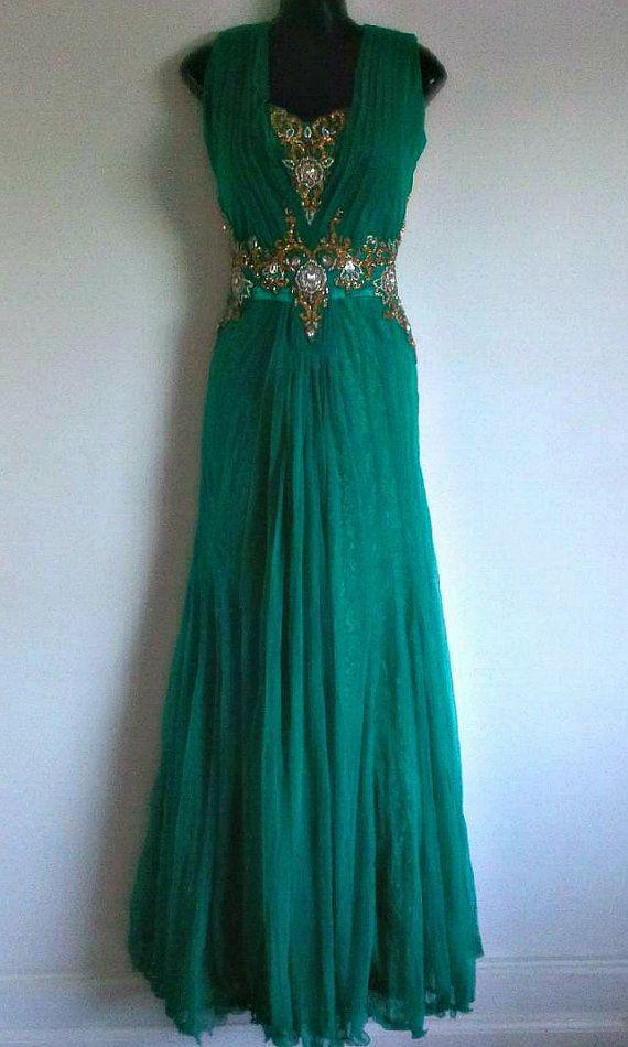 Karma Gold Perlen grün indischen Zigeuner Kleid lange von Jywal