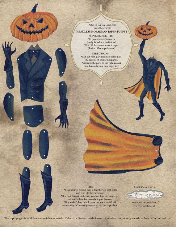 Legend of Sleepy Hollow, DIY Printable PDF, Paper Doll, paper puppet Set, Headless Horseman, for Halloween, Gift Giving, Party Decor.