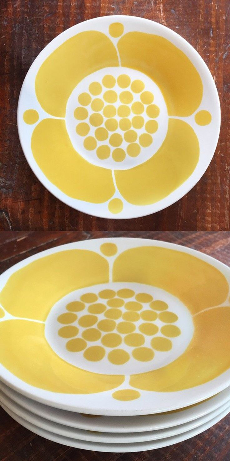 Rare 1971 vintage dessert plates in graphic yellow flower pattern on white ceramic.