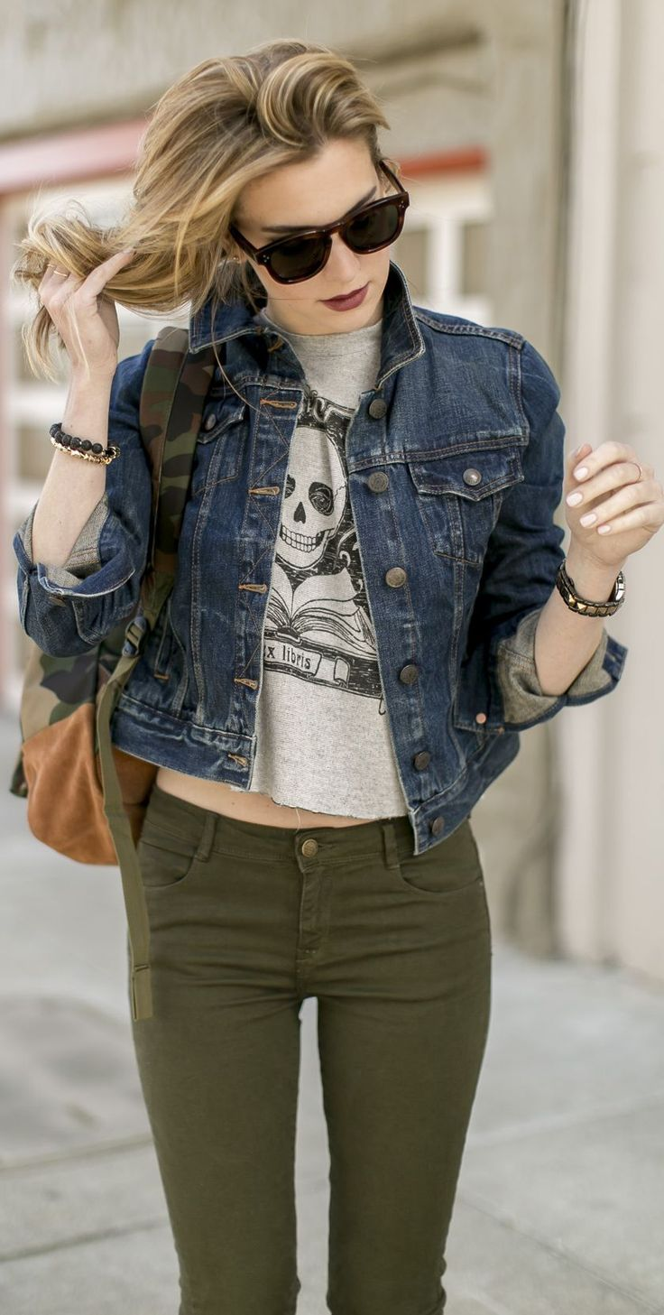 denim jacket with tee and pants