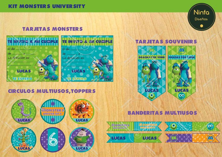 #invitaciones #tarjetas  #souvenirs #toppers #cartelitos #multiusos #stickers #decoracion #fiestas #kids #monstersuniversity #monstersinc #monsters #kids #chicos #banderitas #comida #cumple #fiestas