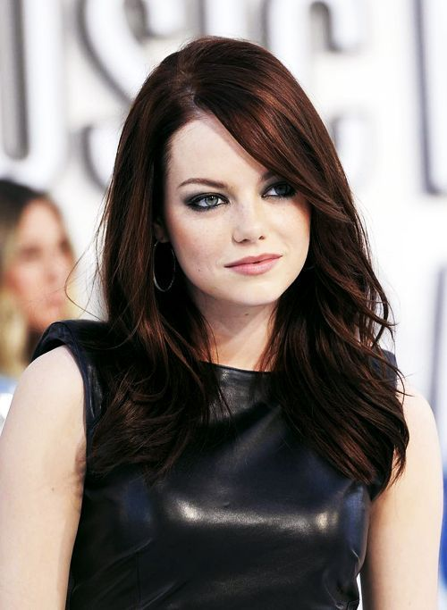 Emma-Stone-dark-auburn-hair-colors » New Medium Hairstyles