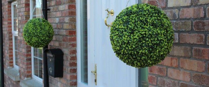 Light green topiary balls