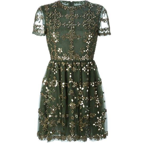Valentino embellished tulle dress (£7,200) ❤ liked on Polyvore featuring dresses, vestidos, short dresses, valentino, green, tulle dress, green dress, pleated dress, embellished dresses and short sleeve dress
