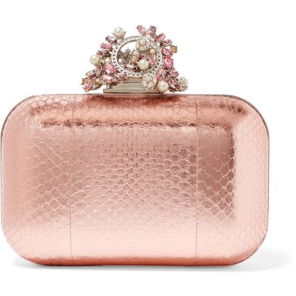 Jimmy Choo Cloud embellished metallic elaphe clutch ($2,695) ❤ liked on Polyvore featuring bags, handbags, clutches, purses, bolsas, leather hand bags, evening handbags clutches, jimmy choo handbags, metallic leather handbags and metallic clutches