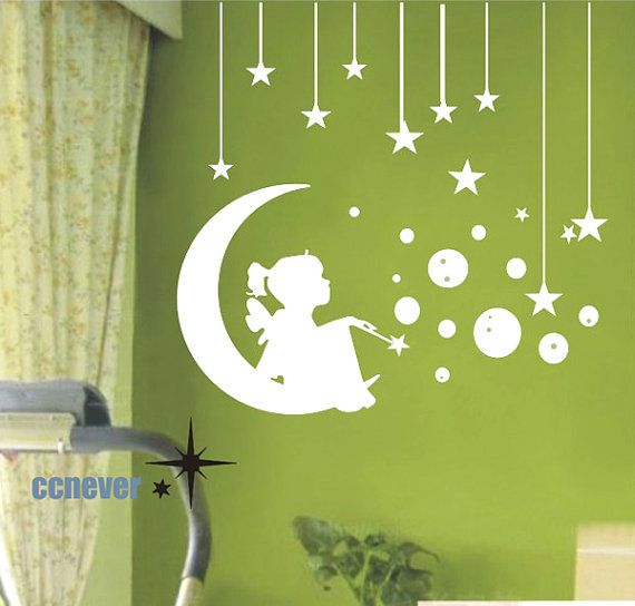 Angel Girl On Moon Stars Bubbles----Removable Graphic Art wall decals stickers home decor via Etsy
