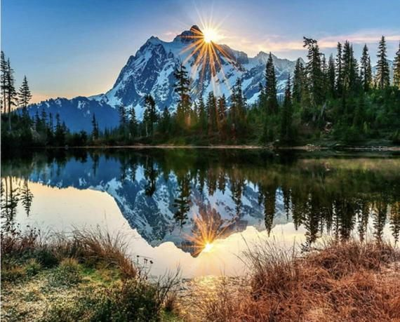 Usa Store Paint By Number Kit Mountain Lake Water Reflection Diy Fast Shipping A Great Christmas Mountain Landscape Landscape Wallpaper Paint By Number