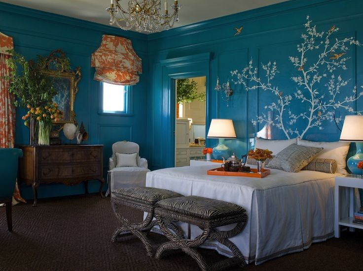 Exceptional Blue U0026 Orange Color Schemes For Bedroom. I Really Just Like This Art Decor  Painted Tree Behind The Bed. The Room Just Looks To Busy To Me
